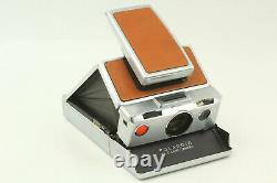 EXC+5 POLAROID SX-70 LAND CAMERA with LEATHER CASE + FLASH UNIT From JAPAN #994