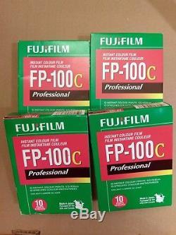 FOUR packs of FujiFilm FP-100C Instant Colour Film for Polaroid Land Cameras