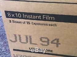 POLAROID 804INSTANT FILM 8x10 NEW SEALED CASE 3 BOXES 45 PRINTS, RARE, EXPIRED