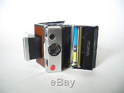 POLAROID SX 70 LAND CAMERA / Silver Brown / Sofortbild Kamera + Manual