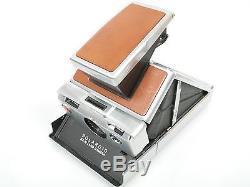 POLAROID SX-70 Sofortbildkamera in hellbraun mit Polaroid echt Ledertasche braun