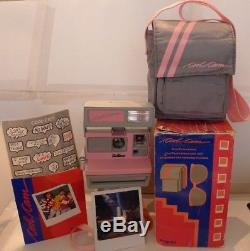 Polaroid 600 Instant Camera Pink Grey Cool Cam +FILM, Bag, Box & Manual TESTED