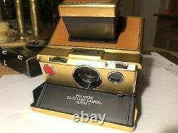 Polaroid Kamera SX 70 Gold 24k Land Camera Alpha 1 m. Ledertasche 0124 Stempel