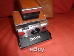Polaroid Original SX-70 Camera Chrome & Brown + Original Case