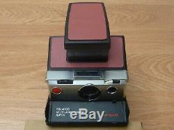 Polaroid SX-70 Alpha Black and Silver Sears Reskinned Tested Excellent Working