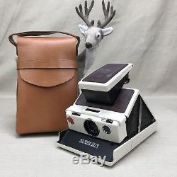 Polaroid SX-70 Land Camera Model 2 & Original Leather Case Vintage White & Tan