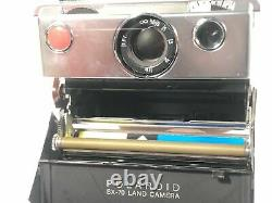 Polaroid SX-70 Land Camera Vintage Collapsible Leather Metal Shell Made In USA