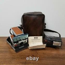 Polaroid SX-70 Land Camera with Leather Case Sylvania & Alfon Flash Untested