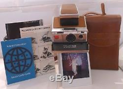 Polaroid SX-70 SLR Tan Instant Film Camera +Camera Case, Manual & Guide TESTED