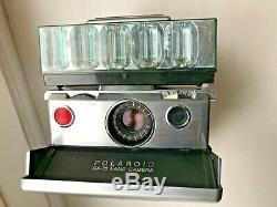 Polaroid SX-70 vintage land camera with leather case, flash bar & manual