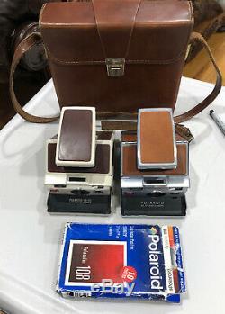 Polaroid sx-70 Land Camera & SX-70 Model 2 land Camera Lot Of 2 + Leather Case