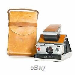 RARE Original 1973 Silver/Tan Polaroid SX-70 Instant Land Camera with Case