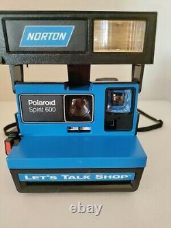 Rare Polaroid Spirit 600 Blue Promotional Instant Camera Norton Let's Talk Shop