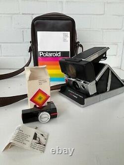 VINTAGE POLAROID SX-70 Land Camera Sonar One Step W Strap Timer and Strap Case