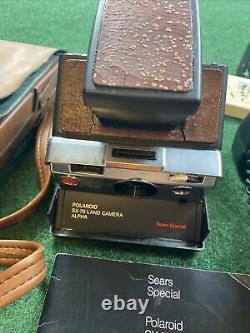 Vintage Polaroid SX-70 ALPHA Land Camera SEARS Bundle Acme-lite Tele Lens 1.5