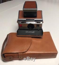 Vintage Polaroid SX-70 Chrome & Brown Leather Instant Land Camera With Case EUC