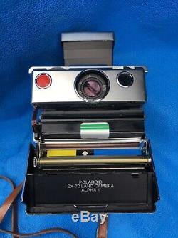Vintage Polaroid SX-70 Land Camera Alpha 1 + Flash+Leather Cases+ Instruction