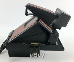 Vintage Polaroid SX-70 Land Camera Alpha 1 Model 2 Brown Leather withNissin Flash