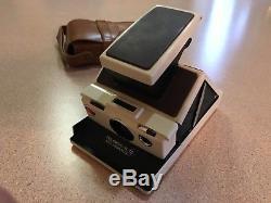 Vintage Rare Cream Color Polaroid SX-70 Model 2 Land Camera with Case